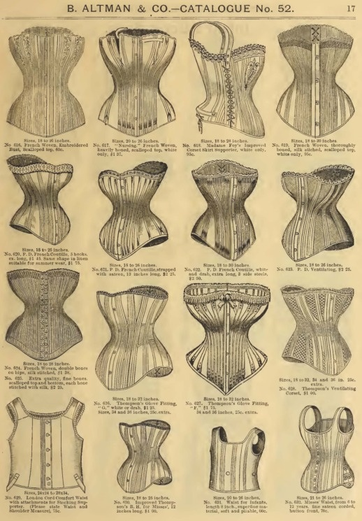"Late Victorian Era Ladies' Corsets - 1886 B. Altman & Co. Catalog  Top row, Second from left.  No. 617. Sizes 20 to 26 inches, ""Nursing"", French woven, heavily boned, scalloped top, white only, 1.37"