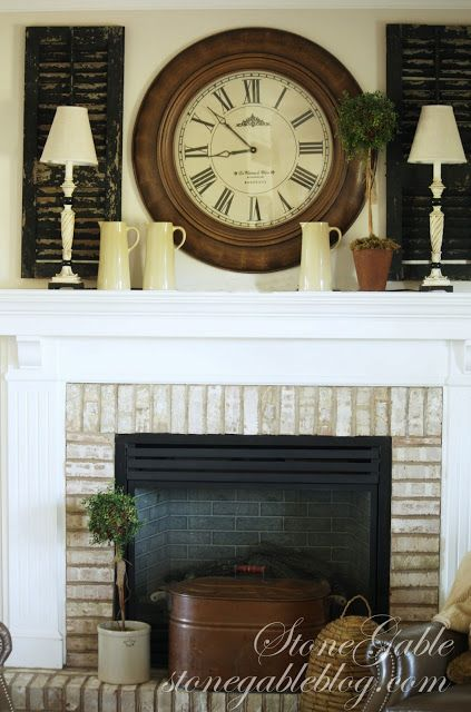 StoneGable: SHUTTERS ON THE MANTLE I don't have a mantle...but I like this