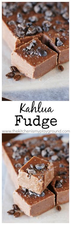 Chocolate Kahlua Fudge topped with chocolate covered espresso beans ~ a chocolate and coffee lovers dream. www.thekitchenismyplayground.com