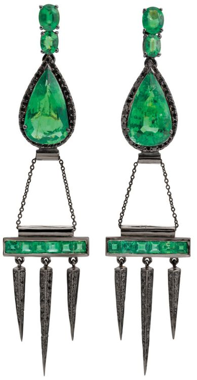 Gemfields' Dominic Jones earrings with 12ct of Zambian emeralds bring edgy design to the Gemfields collection of jewels by contemporary designers.      Via The Jewellery Editor.