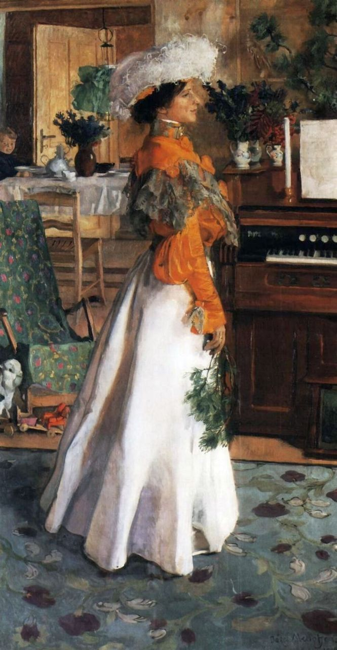 Portrait of the Artist's Wife, by Józef Mehoffer, 1904. jsg: I'm not usually a fan of orange, but I like the little bit here with all the other colors in the painting. Makes a nice blending and could make a stunning jewelry set in these shades and tones.