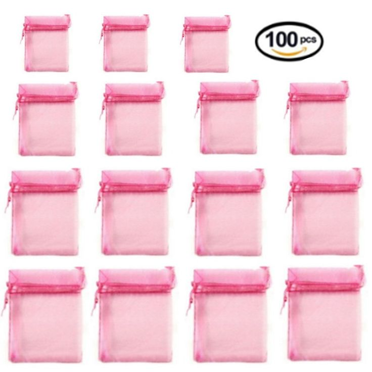 100 Pieces Transparent Bags Satin Drawstring Organza Pouch Watch Bags Gift Bags Wedding Party Favour Jewellery Packing Pouches (8*10, Pink)