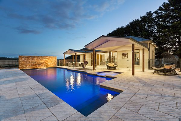Masonry wall featuring slimline pool water feature on an Albatross Pool