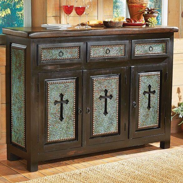 Turquoise Santa Cruz Cross Cabinent Western Furnituredining Room Furniturefurniture Ideasrustic