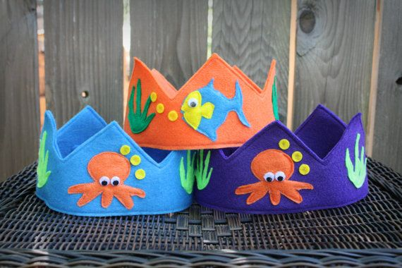 Little Blue Fishy Felt Birthday Crown Ocean Theme by TheLazyOwl