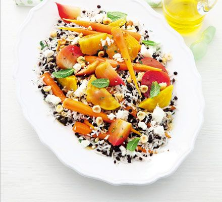 Lentil rice salad with beetroot & feta dressing. Get a healthy dose of folate and fibre in this good for you dish, which uses time saving ready-cooked rice