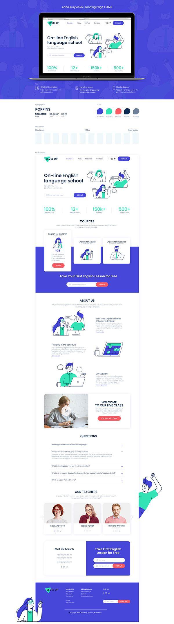 LevelUp   language school   landing page