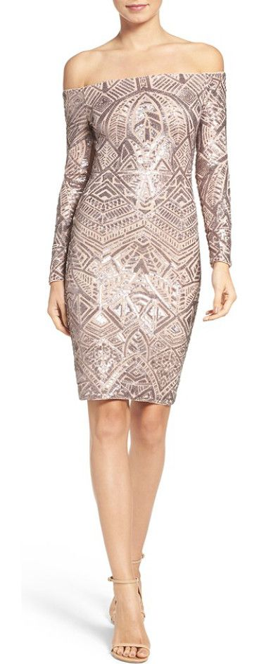 off the shoulder sequin dress by BCBGMAXAZRIA. Step into the limelight of the holiday party season in this glitzy sequin dress that's both retro-inspired and contem...