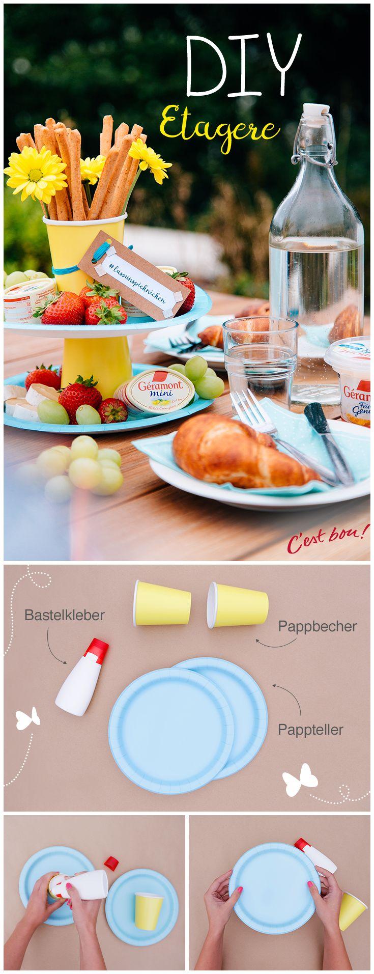 Eine selbstgemachte Etagere ist ein wunderbares Dekoelement auf jedem Frühstückstisch oder jeder Picknickdecke. Wir zeigen Euch in dieser DIY-Anleitung wie es ganz einfach geht. #geramontpicknickideen #lassunspicknicken #cestbon