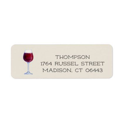 Watercolor Wine Personalized Return Address Labels - return address gifts label labels cards diy cyo