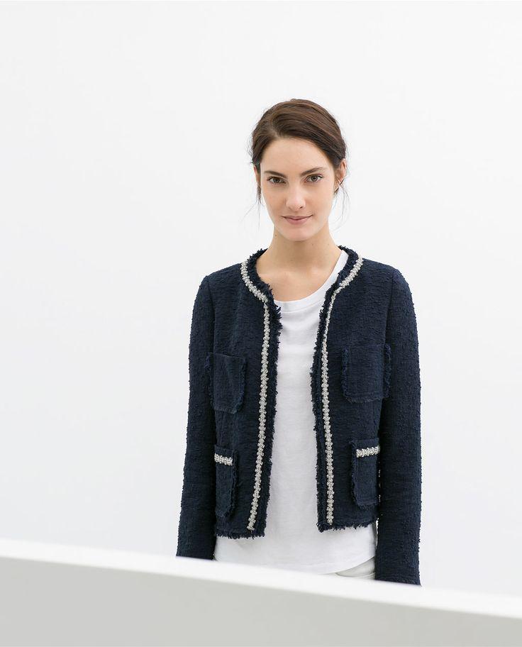 Veste tweed femme bleu