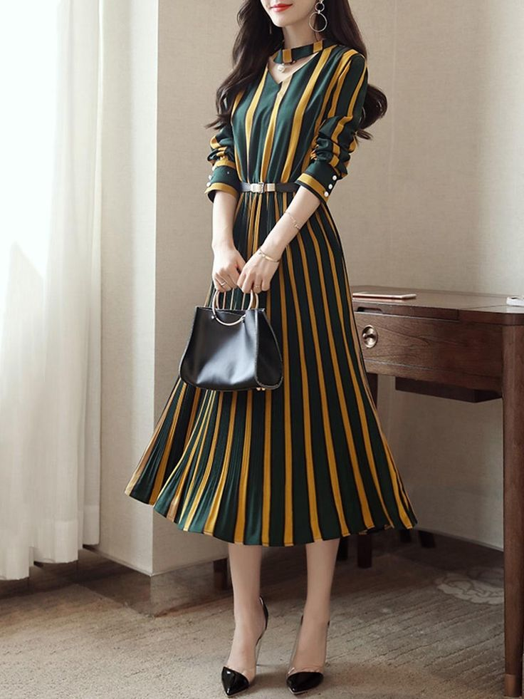 Buy Round Neck Cutout Vertical Striped Belt Midi Skater Dress online with cheap prices and discover fashion Skater Dresses at Fashionmia.com.