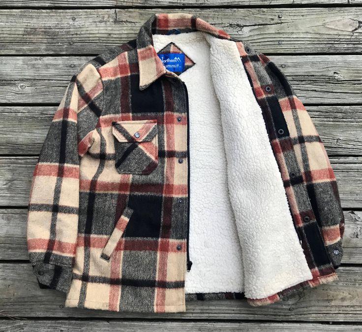 NORTHERN SUMMIT Vintage 80s Plaid Wool Sherpa Hunting Jacket Chore Coat Men's L by VintageCharlieFinds on Etsy