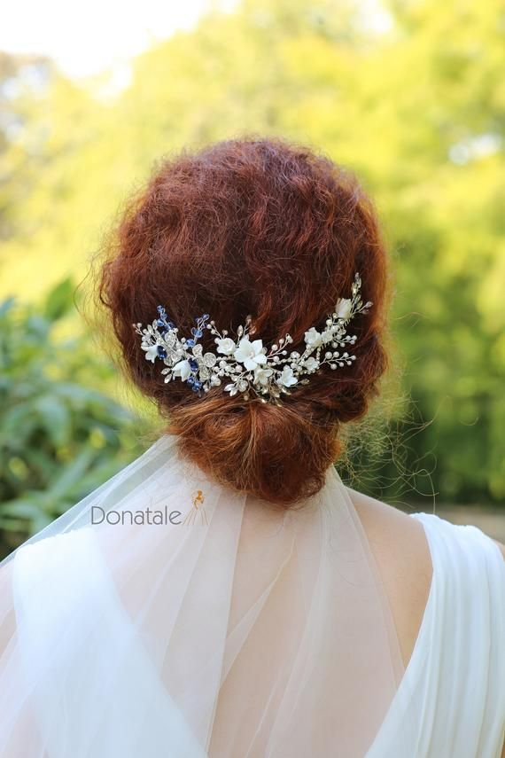 wedding hair piece silver wedding headpiece wedding hair comb Something Blue Bridal hair comb Bridal hair vine blue hair accessory UK
