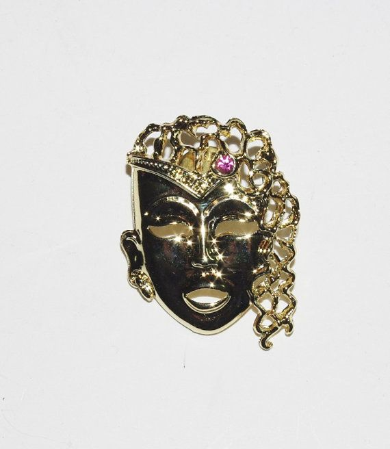 Mardi Gras Mask PIN Gold Tone with Pink Stone by MardiGrasShoppe