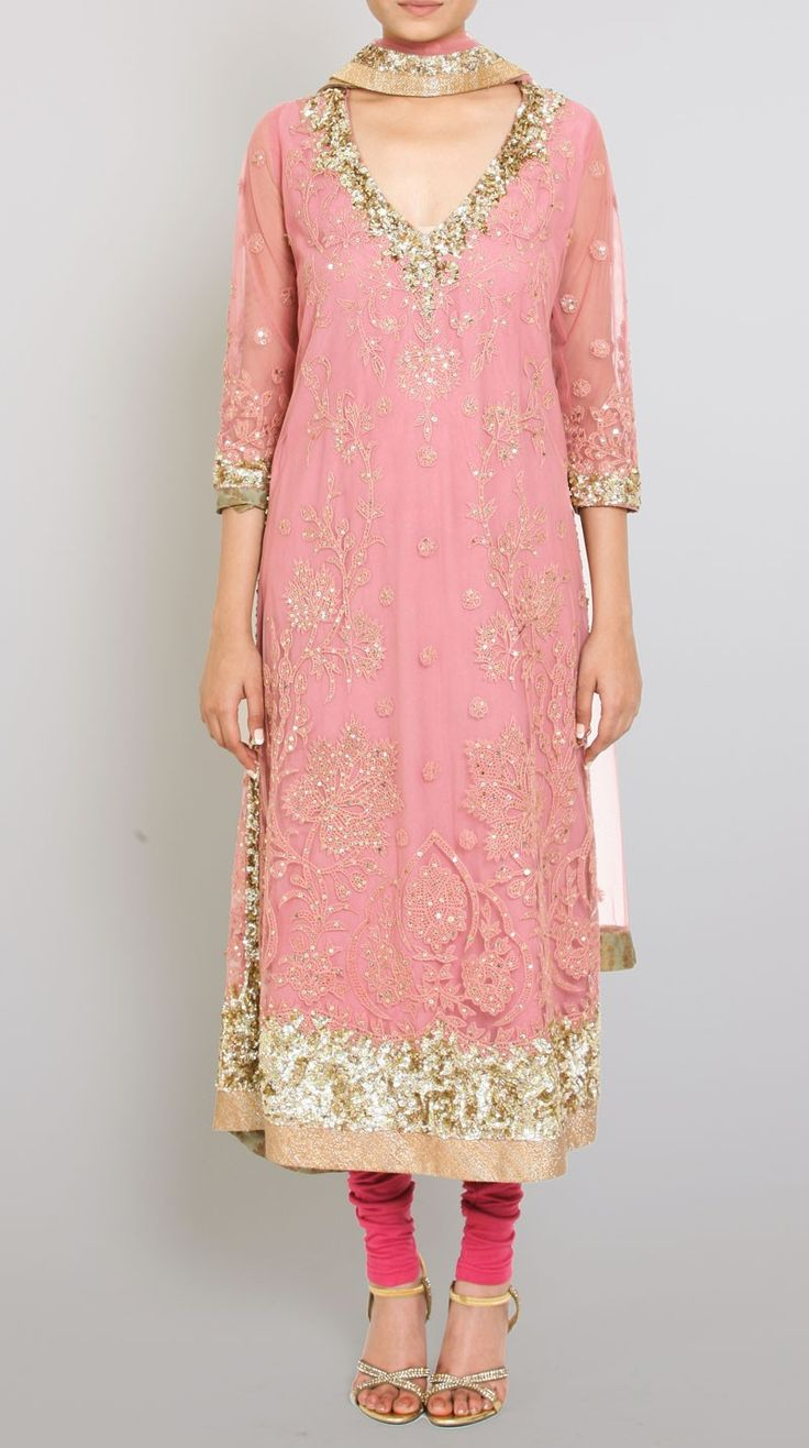 pink embroidered net suit