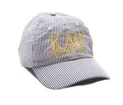 Kappa Alpha Theta Seersucker Baseball Hat. www.sassysorority.com #theta #preppy #seersucker #baseballhat #sassysorority #monogram #suckerforseersucker #sororitygift #sororitymerchandise #summer #kappaalphatheta #gogreek