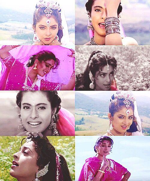 90's Bollywood beauties: Divya Bharti, Kajol, Madhuri Dixit, and Juhi Chawla.