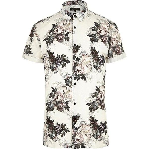 River Island Ecru floral short sleeve shirt ($31) ❤ liked on Polyvore featuring men's fashion, men's clothing, men's shirts, men's casual shirts, shirts, men, short mens shirts, mens roll sleeve shirt, mens floral print shirts and mens short sleeve shirts