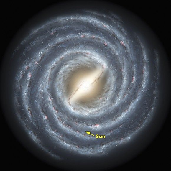 Our sun is located about two-thirds of the way out from the center of the Milky Way. Illustration via Caltech.