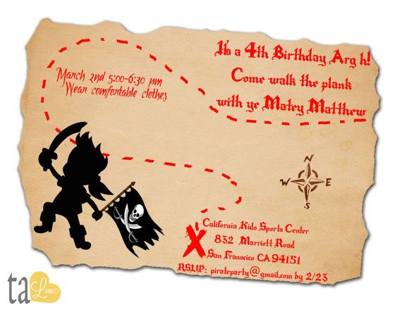 Pirate Birthday Party Printable Invitation Personalized By Talove 1500 Jake Netherland