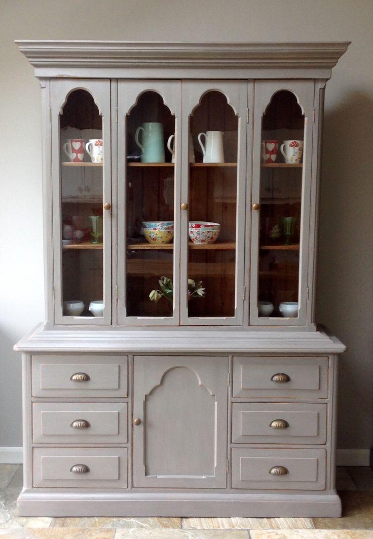 Antique Victorian Painted Grey Glazed Dresser Larder Cupboard Display Cabinet Bookcase Annie Sloan Chalk Paint French