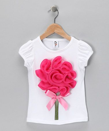 Take a look at this White & Dark Pink Bouquet Tee - Toddler & Girls by 2 Crystal Chicks on #zulily today!