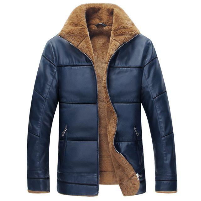 Invierno Hombres Calientes de Espesamiento Cortavientos Outwear Cuello de Piel de Cordero Chaqueta de Cuero para hombre Chaquetas de cuero y Abrigos Más El Tamaño M-6XL