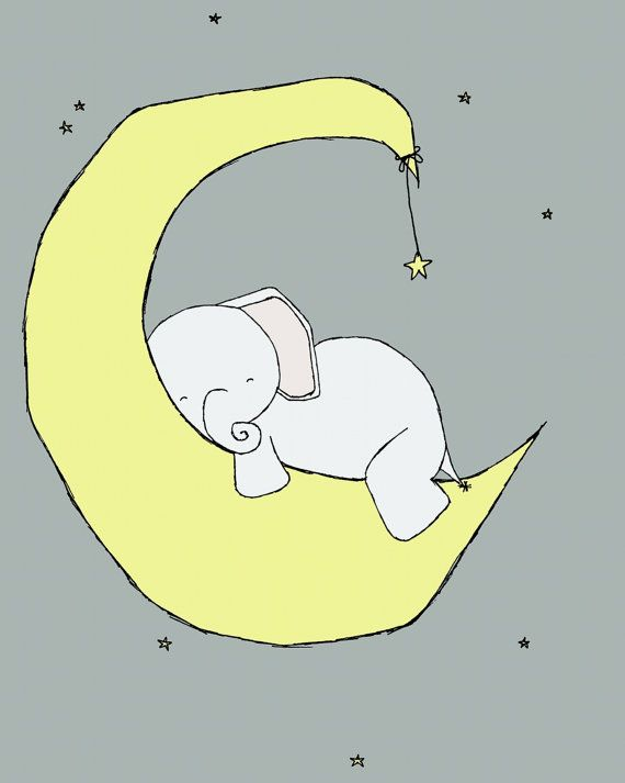 Elephant Nursery Art Baby Elephant Moon And Stars Dream