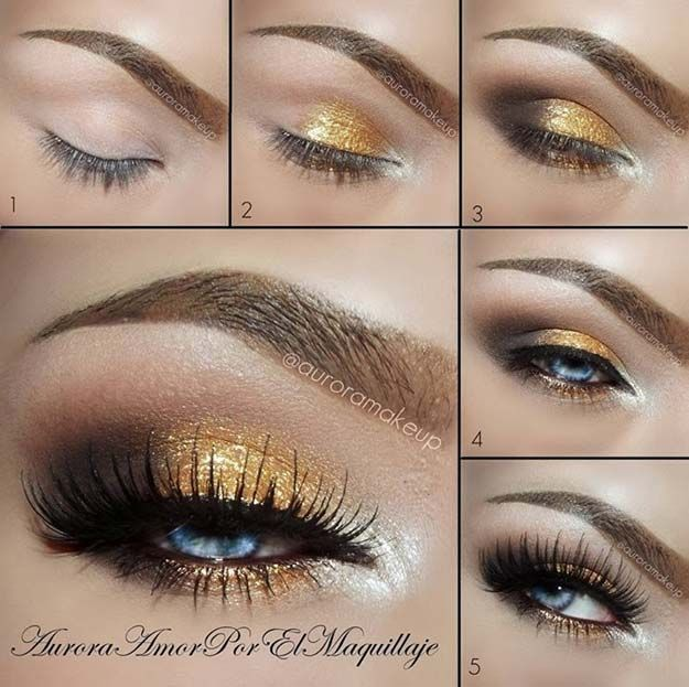 Makeup Ideas For Prom - Gold and Brown Eye Makeup for Blue Eyes - These Are The Best Makeup Ideas For Prom and Homecoming For Women With Blue Eyes, Brown Eyes, or Green Eyes. These Step By Step Makeup Ideas Include Natural and Glitter Eyeshadows and Go Great With Gold, Silver, Yellow, And Pink Dresses. Try These And Our Step By Step Tutorials With Red Lipsticks and Unique Contouring To Help Blondes and Brunettes Get That Vintage Look. - thegoddess.com/makeup-ideas-prom
