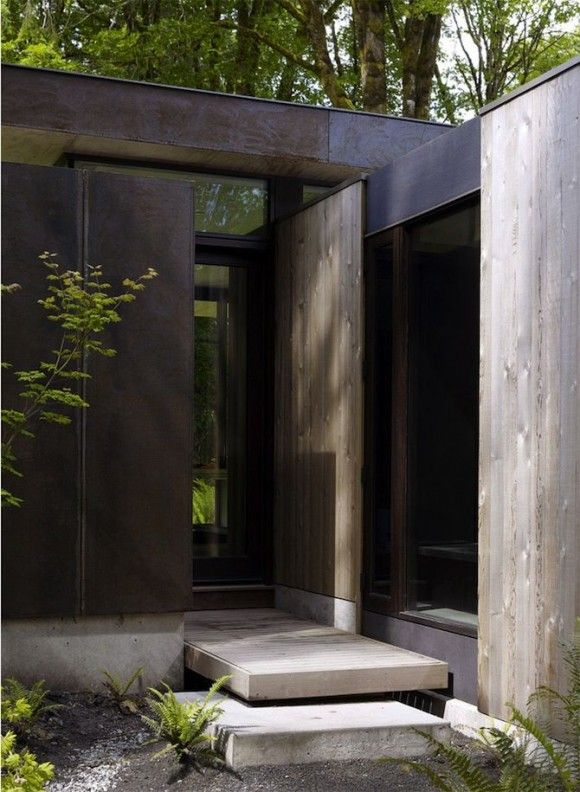 wood steel modern glass facade exterior concrete architecture  Japanese Trash masculine design inspiration