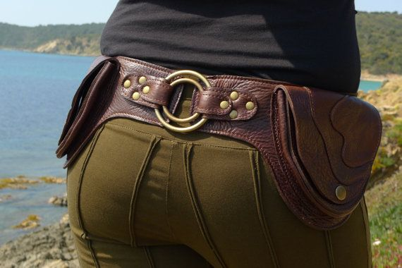 """Leather Utility Hip Belt BaG - """" DOUBLE RING """" - D.BROWN // leather belt with pockets."""