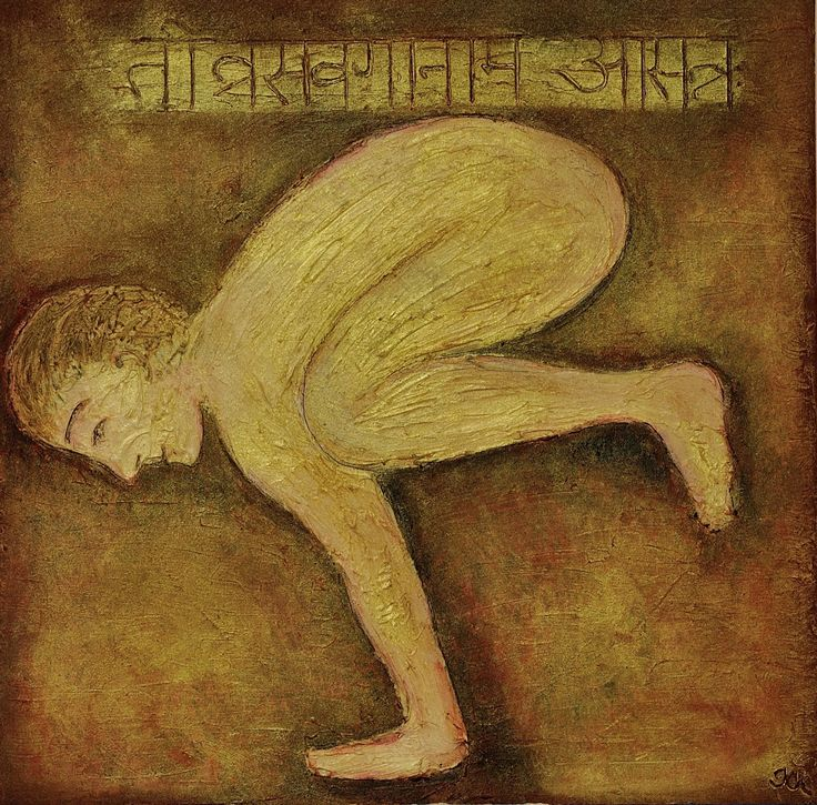 Bakasana, Sutra Tivrasamveganamasannah, mixed media on canvas, 50x50cm, available
