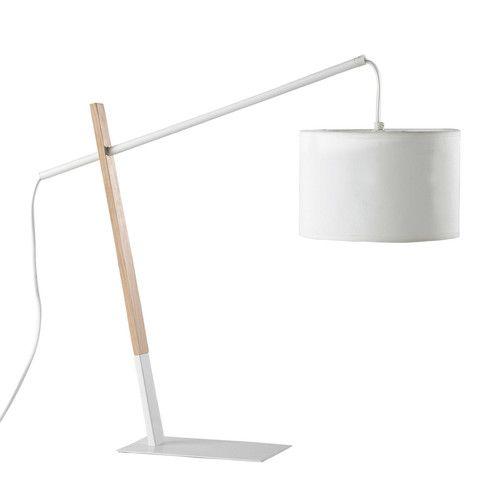 Lampe en métal et bois blanche H 46 cm MIDTOWN
