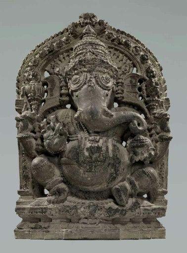 A stone figure of Ganesha India Karnataka Hoysala period 11-12th century