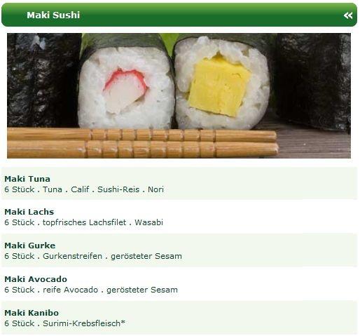 Maki Sushi sind mit einer Bambusmatte gerollte und in Nori gewickelte Sushi Spezialitäten.  Die beliebtesten Maki Sushi Spezialitäten, wie z.B. Maki Tuna, Maki Lachs, Maki Gurke, Maki Avocado, Maki Kanibo finden Sie auf der aktuellen Online Speisekarte vom SOHO Sushi Lieferservice Kiel.
