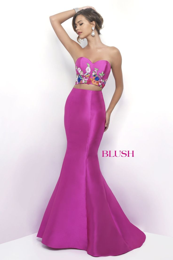 Blush Prom 11341 Hot Pink Two Piece Prom Dress