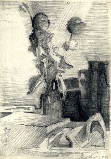 Натюрморт с засушенными цветами. 1982  Бумага, карандаш. 29,5х20,7. Справа внизу подпись и дата