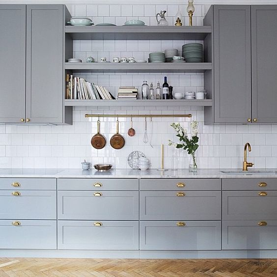 "love these cabinets and the shelves... the whole image in general. I think that the grey is a little too ""grey grey"". More blue would be nice but I really like this image. even the super simple backsplash"