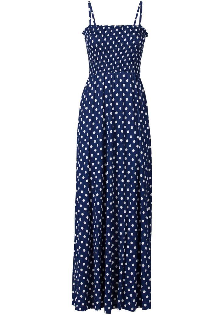 Bekijk nu:Trendy maxi-jurk met modieuze stippen en verstelbare spaghettibandjes. Dankzij het smokwerk op het bovenstuk blijft de jurk perfect zitten. Ideaal voor warme dagen. Lengte in mt. 36/38 ca. 136 cm.