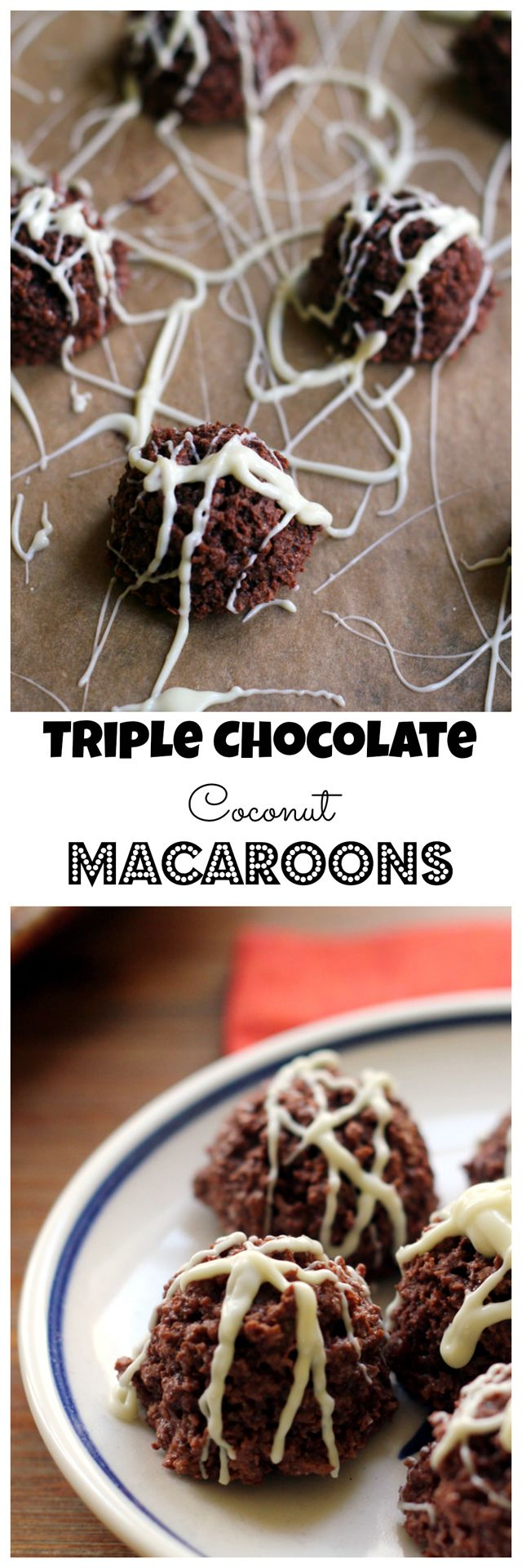 Perfect for Easter or Passover, triple chocolate coconut macaroons are as rich and fudgy as truffles, but possibly even more decadent.