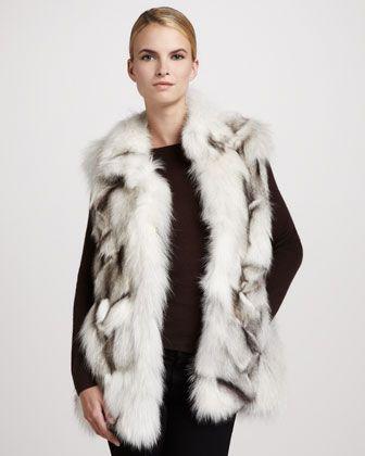 Stand-Collar Fox Fur Vest, White/Gray by Pologeorgis at Neiman Marcus.  1495.00
