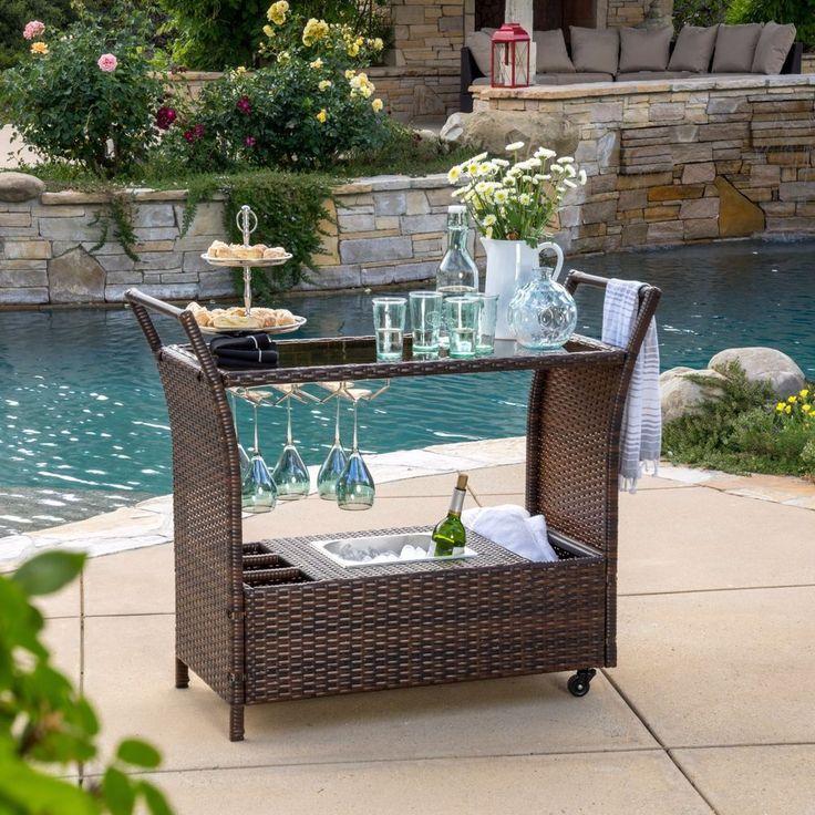 Outdoor Patio Bar Set Aluminum Ice Bucket Storage Mobile Wicker Furniture