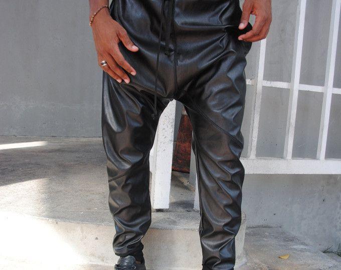 VENTA cuero negro gota entrepierna pantalón bombacho / hombres pantalones de cuero / cuero corredores hechos a mano por HILOS de MORDAZA
