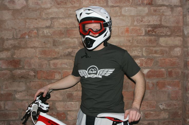 Get out and ride! Wearing Muel Wings tee in charcoal