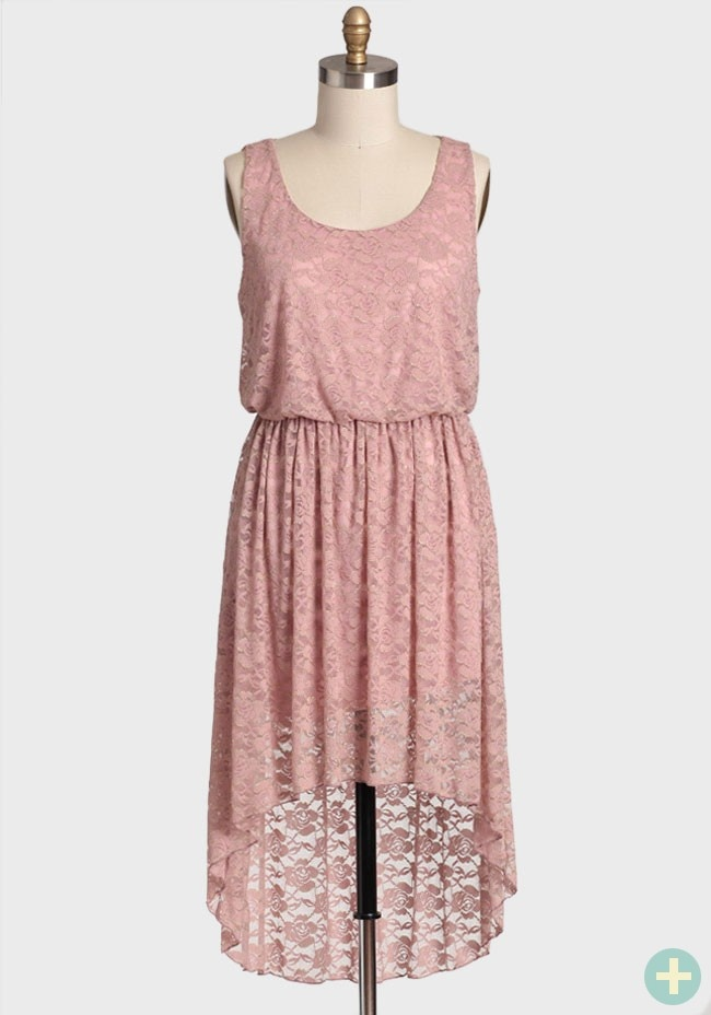 Just Like Heaven Curvy Plus Dress In Blush | Modern Vintage Curvy Plus - Pretty Plus size hi-low dress. I love the floral lace, they also have this same dress in a dark blue, but you know me by now, I like my pastels. sold out.
