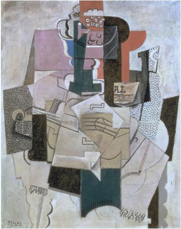 Pablo Picasso's 'Bowl of Fruit, Violin and Bottle' 1914 is an example of cubism and inspired Malevich in his work.