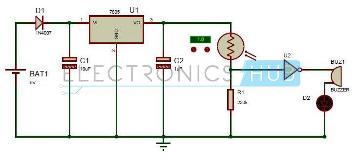 electronic eye controlled security system circuit using ldr, Circuit diagram