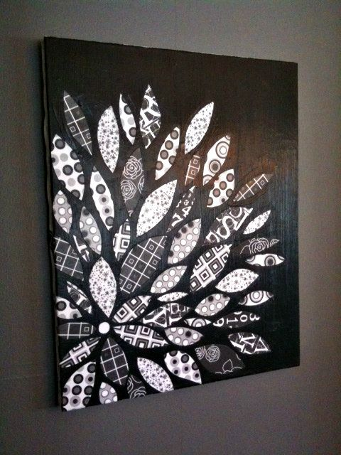 Love the black and white! DIY Canvas Flower using scrapbook paper and