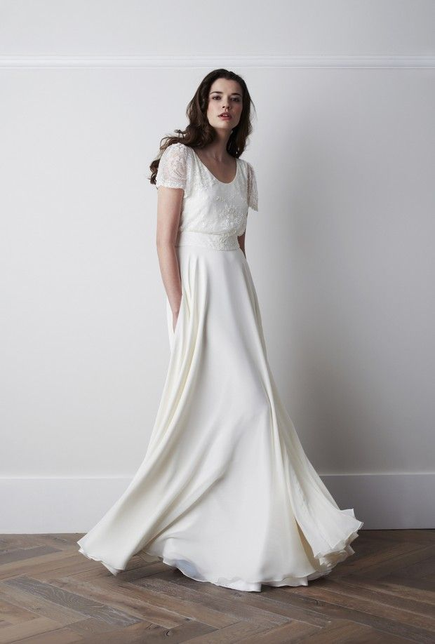 This Whimsical Short Sleeve Wedding Gown Could Work As A Beach For Some Brides